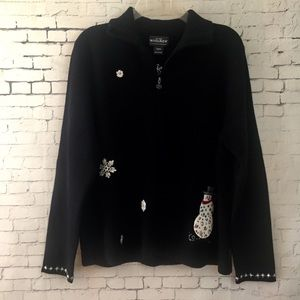 Woolrich Ugly Christmas Sweater Zip Up Sz L